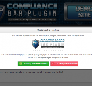 Compliance Bar Popups